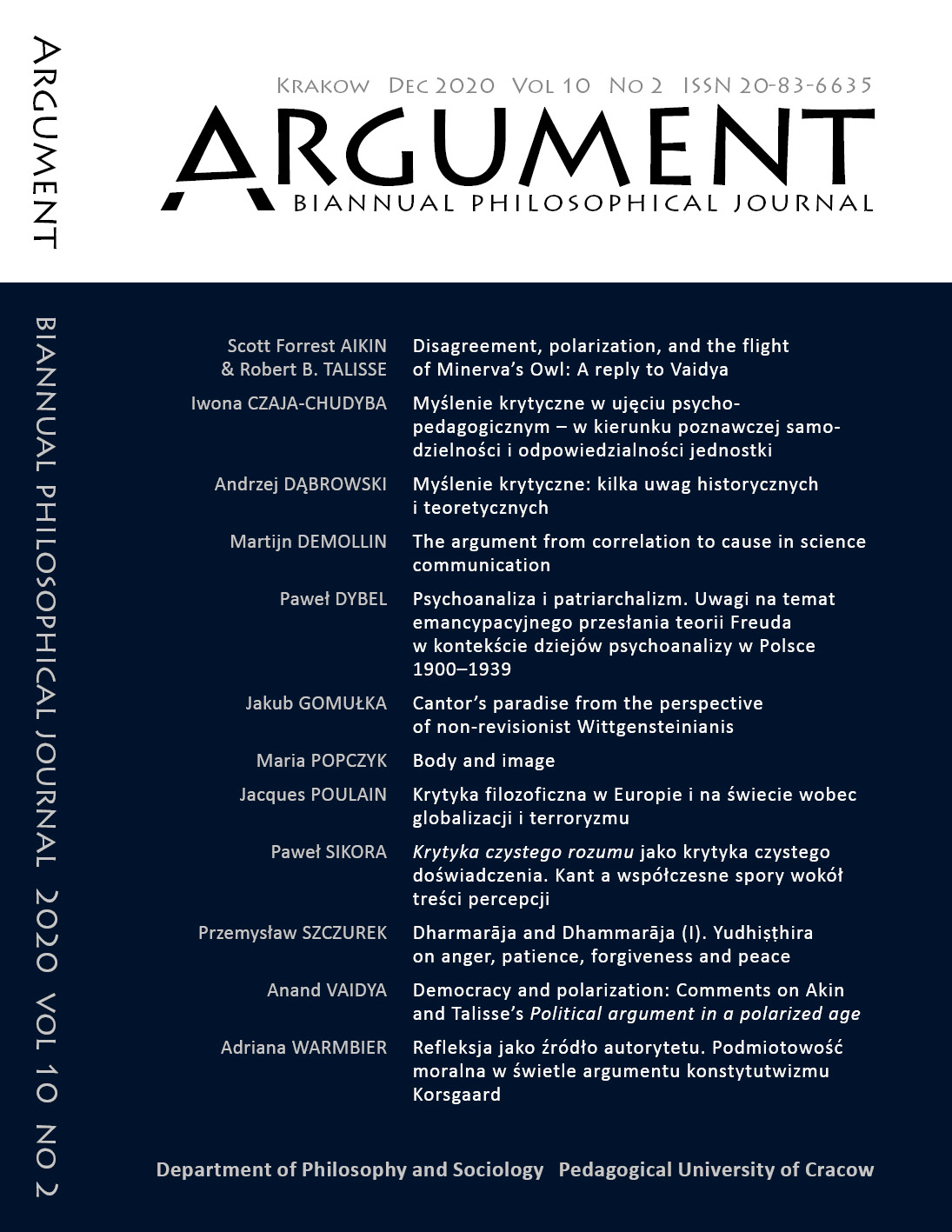 View Vol. 10 No. 2 (2020): Critical thinking